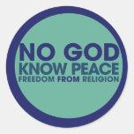 Ningún dios sabe paz pegatina redonda