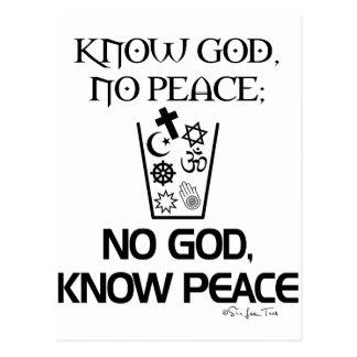 Ningún dios, sabe paz tarjetas postales