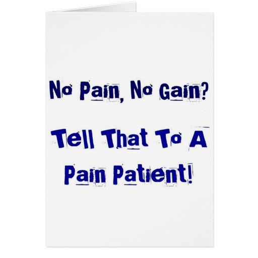 ¿Ningún dolor, ningún aumento? Tarjeton