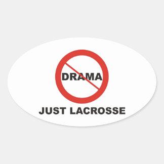 Ningún drama apenas LaCrosse Pegatina Ovalada