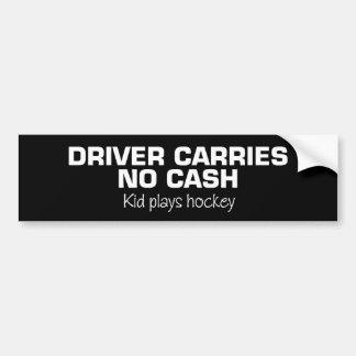 Ningún efectivo (hockey del juego de los niños) pegatina para auto