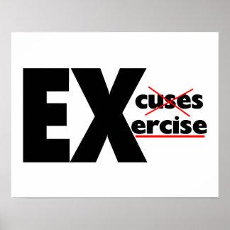 Ningún ejercicio de las excusas apenas póster