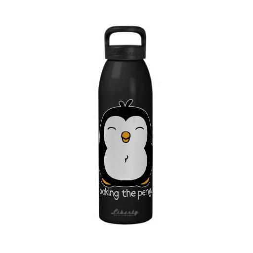 Ningún empuje del pingüino botella de agua