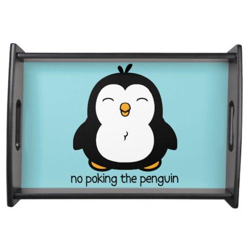 Ningún empuje del pingüino bandejas