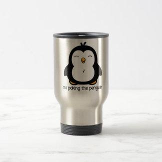 Ningún empuje del pingüino taza de viaje de acero inoxidable