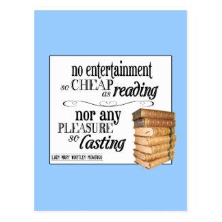 Ningún entretenimiento tan barato como lectura tarjetas postales