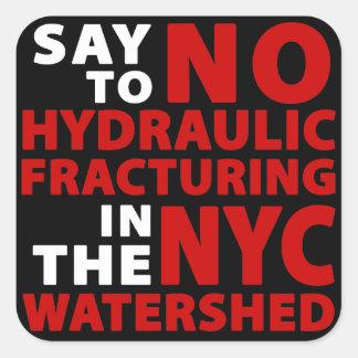 Ningún Fracking en la línea divisoria de las aguas Calcomanías Cuadradases
