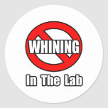 Ningún gimoteo en el laboratorio etiqueta