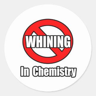 Ningún gimoteo en química pegatina redonda
