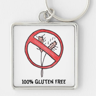 ¡Ningún gluten/trigo libera! Llavero Cuadrado Plateado