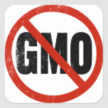 Ningún GMO, no GMO, marzo contra Monsanto Pegatina Cuadrada