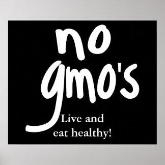 Ningún GMO vivo y come negro sano Póster