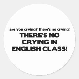 Ningún griterío en clase de inglés pegatina redonda