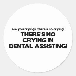 Ningún griterío en la ayuda dental etiquetas redondas