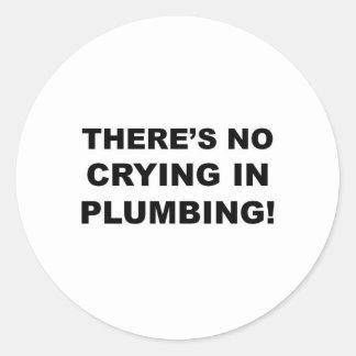 Ningún griterío en la fontanería pegatina redonda