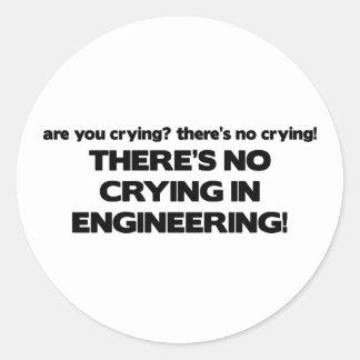 Ningún griterío en la ingeniería pegatina redonda