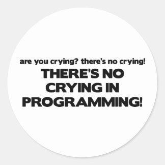 Ningún griterío en la programación etiqueta redonda
