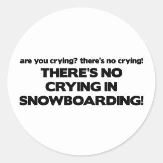 Ningún griterío - snowboard pegatina redonda