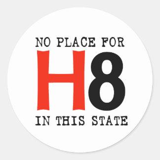 Ningún lugar para H8 Pegatina Redonda