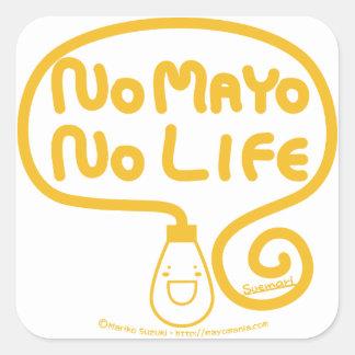 Ningún Mayo ninguna vida Calcomanía Cuadradas Personalizadas