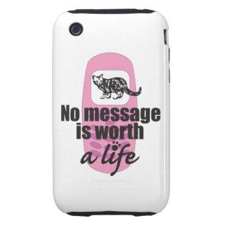 Ningún mensaje vale una vida iPhone 3 tough fundas