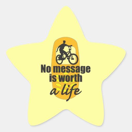 Ningún mensaje vale una vida calcomanías forma de estrellas personalizadas