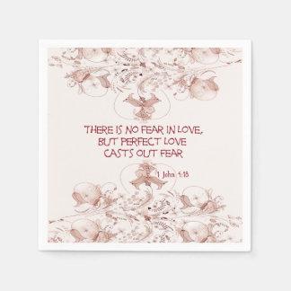 Ningún miedo en versos de la biblia del amor servilleta desechable