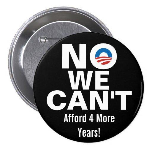 Ningún no podemos, los botones antis de Obama Pin