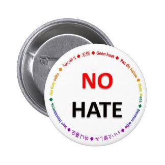 Ningún odio en muchas idiomas pin redondo de 2 pulgadas