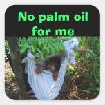 Ningún orangután del bebé del aceite de palma calcomanías cuadradas personalizadas