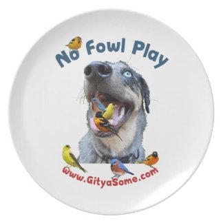 Ningún perro de caza del juego de las aves platos de comidas
