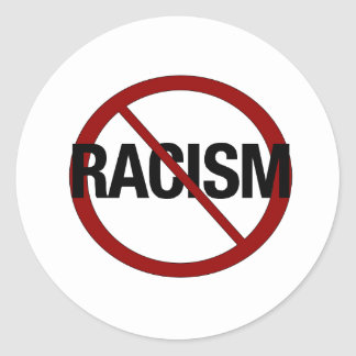 Ningún racismo pegatina redonda