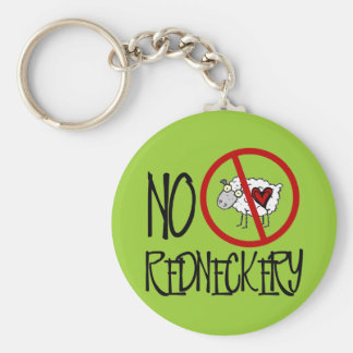 ¡Ningún Redneckery! Ovejas divertidas del campesin Llavero Redondo Tipo Pin