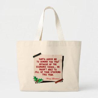 Ningún regalo del navidad de Santa Bolsa Tela Grande