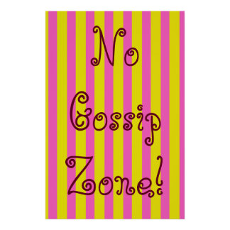 Ningún rosa de la zona del chisme y rayas póster