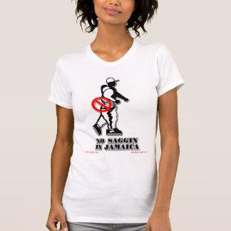 Ningún Saggin en el funcionario T de Jamaica Tee Shirts