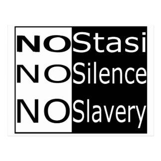 Ningún Stasi, ningún silencio, ninguna esclavitud Postal