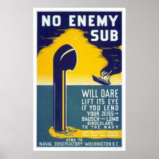 Ningún submarino enemigo - WPA Póster
