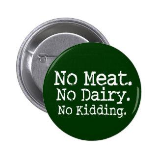 Ningún Swag del mensaje del vegano de la carne Pin Redondo De 2 Pulgadas