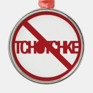 Ningún Tchotchke Adorno Redondo Plateado