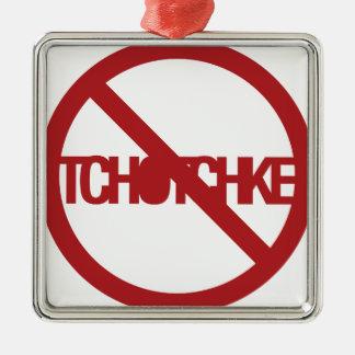 Ningún Tchotchke Adorno Cuadrado Plateado