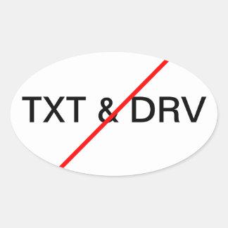 Ningún Texting y conducción Pegatina De Óval