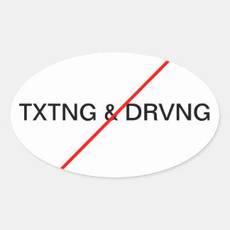 Ningún Texting y conducción Pegatina Óval