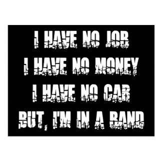 Ningún trabajo - ningún dinero - ningún coche tarjeta postal