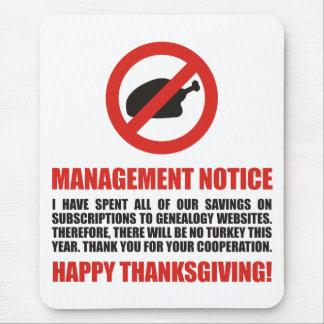 Ninguna acción de gracias Turquía Mousepad