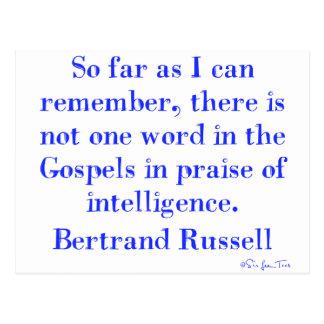 Ninguna alabanza de la inteligencia en los evangel postal