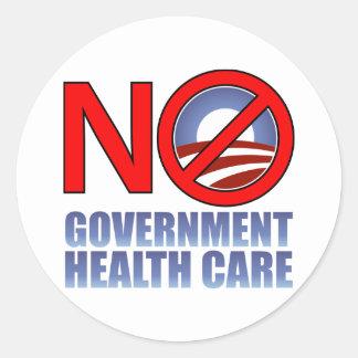Ninguna atención sanitaria del gobierno pegatina redonda