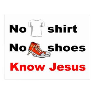 Ninguna camisa ningunos zapatos conoce a Jesús Postal