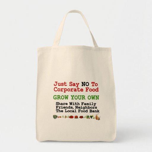 Ninguna comida corporativa bolsa tela para la compra