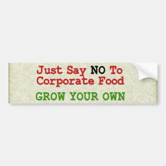 Ninguna comida corporativa etiqueta de parachoque